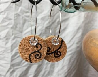 Romantic, Love, Curly Cue Cork Earrings, Handmade, Original