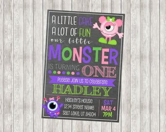 Digital Monster Girl First Birthday Invitation