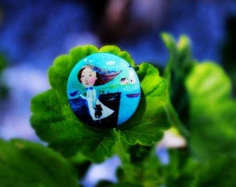 Covered Handmade Buttons - The Sea. Art-buttons for brooches, art, decoration, clothing, for her