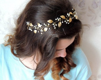 Wedding hair piece Leaf Headband Bridal Hair Piece Gold leaf hair vine Leaf Hair Vine Bridal hair vine Gold Leaf Headpiece Grecian Headband