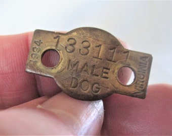 1934 Canine Male Dog Tag Vintage Virginia  Somewhat rare, this tag is very readable