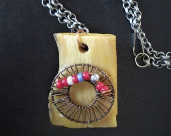 Folk Art Jewelry: Necklace Pendant. Rectangular Bone Slice with Brass Round and Beads