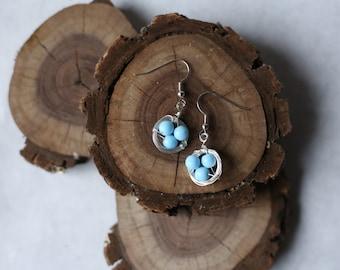 Bird's Nest Wire Wrapped Earrings