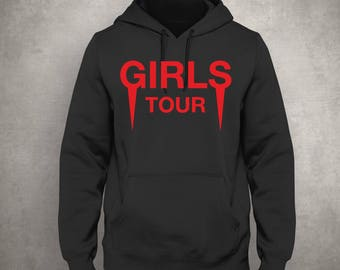 Girls Tour -  Black Hoodie - Red Front - Tour Merch - Yeezus - Kanye West - Free UK Delivery!