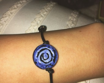 Blue Spinning Flower Bracelet