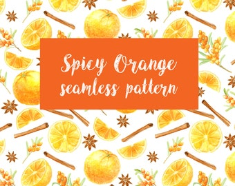 Watercolor Spicy Orange Seamless Pattern