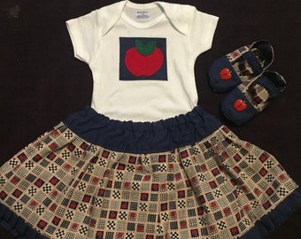 Infants 12 month Apple 3 piece outfit, Infant Apple outfit with matching shoes
