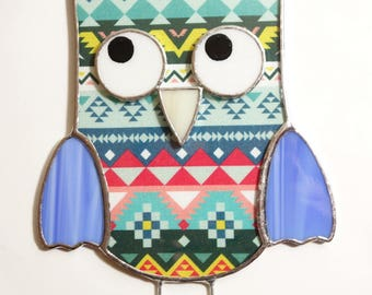 Stained Glass Owl Suncatcher Stained Glass Ornament Blue Colors