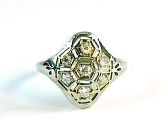 Art Deco Diamond 14k White Gold Ring
