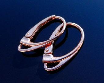 Rose Gold Vermeil 24k Over Sterling Silver Lever Back Earring Ear Wires