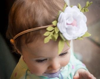 White and Pink Felt Flower Headband