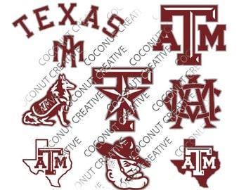 Texas A&M Aggies University Logo football svg dfx jpg jpeg eps layered cut cutting files cricut silhouette die cut decal vinyl