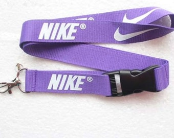 Nike Lanyard - Purple with key ring - Good Quality thick strap!