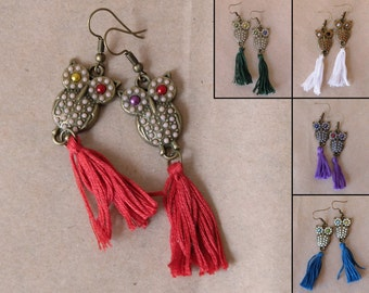 Bronze owl tassel earrings, owls with color eyes and beads