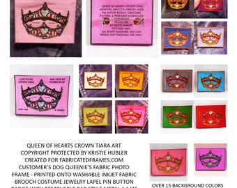 pattern download with 16 wearables printable Queen of Hearts crown tiara inkjet fabric sew or no sew brooch jewelry pin buttons