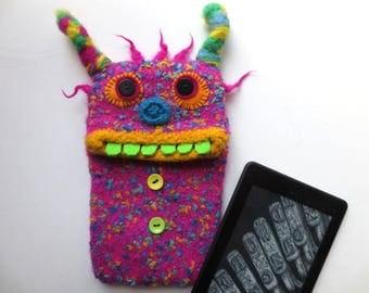 """E-book reader Pocket """"Lindsay"""", knitted, felted, pink bag, felt, wool, cover, case, e-book,"""