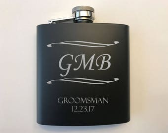 Men's Monogrammed Flasks - Groomsmen Flask - Groomsman Flasks - Personalized Gift Set - Personalized Monogrammed Flask - Flasks