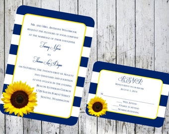 Sunflower and Stripes Wedding Invitation