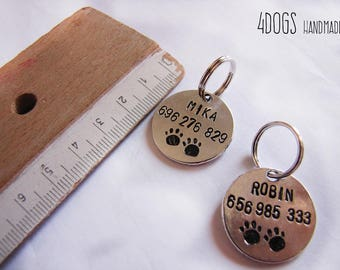 Sheet ID custom dog and cat - dog id tag - pet id tag - dog tag necklace - personalized pet id tag handmade - hand stamping