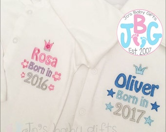 Personalised 2016/2017 Sleepsuit, Custom baby clothes, Embroidered Rompersuit, new baby gift, baby shower gift, baby clothes, custom baby