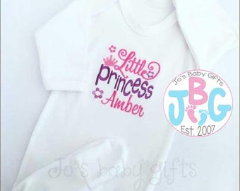 Personalised sleepsuit, Little Princess Rompersuit, baby clothes, all in one personalised baby grow, baby girls gift.