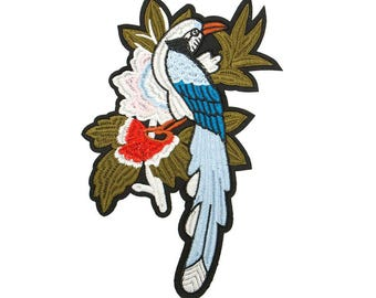 Free Shipping! Exotic Colorful Bird Embroidered Iron-On Patch, Embroidery Applique Right Side