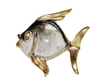 Brooch VINTAGE - fish white gray black