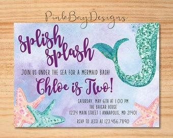 Mermaid Birthday Invitation, Mermaid Invitation, Under The Sea Party, Glitter Mermaid Invite, Pool Party, Little Mermaid, Mermaid Party