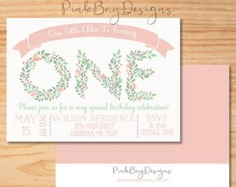 Floral Birthday Invitation, Shabby Chic Birthday Invitation, Pink and Green Floral Invitation, Girl Birthday Invitation, Birthday Invitation
