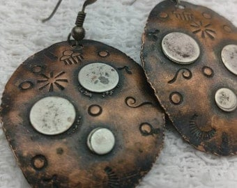 Stamped copper earings
