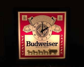 1989 Budweiser Beer Anheuser Busch Deluxe Light-Up Clydesdale Advertising Clock Sign