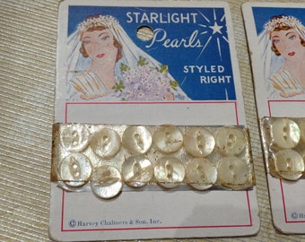 Vintage Starlight Pearls Pearl Buttons Sewing Notions