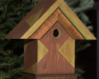 Bold Triangles of pale green on rust, Birdhouse, BH10