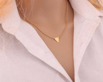 Gold Triangle Necklace - Geometric Gold Plated Long Chain Necklace - Summer Style Womens Gift, Coachella Necklace, Boho Necklace, Festival