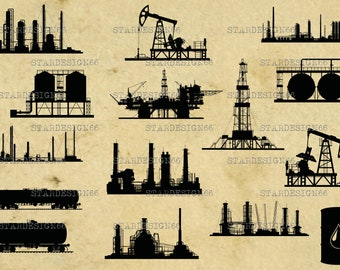 Digital SVG PNG JPG Oil and Gas Industry, silhouette, vector, clipart, instant download