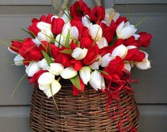 Red & White Tulip Door Basket