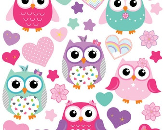 GET STICKING DÉCOR® Cute owl wall stickers/ wall decals collection, owls.3. (Large)
