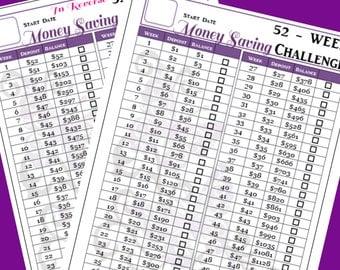 52 Week Savings Challenge Printable - Happy Planner Size - 7 x 9.25