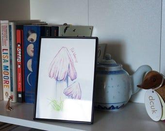 Pink Waxcap Endangered Fungi Illustration Giclee Print