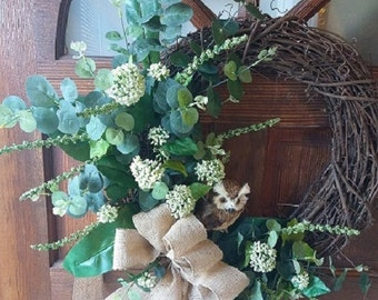 Grapevine Wreath with Mixed Greenery and Owl
