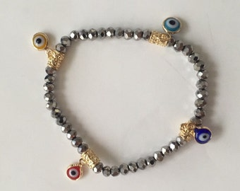 Charming Stretch silver stone beaded evil eye Bracelet