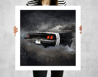 Dodge Charger 1968, popular wall art, oldtimer cars, modern canvas prints, vintage and classic cars, boyfriend gift valentines day