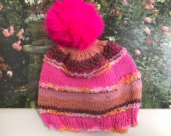 Girl's Hand-Knit Pink Pompom Hat