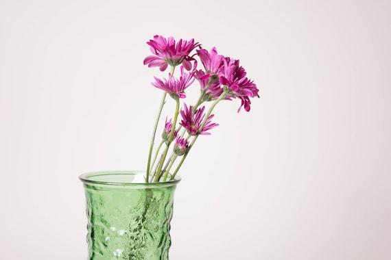 Green Textured Glass Vase