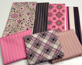 Pink & Black Half Yard Fabric Bundle
