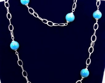 Sterling Silver Lariat Fancy Chain Necklace