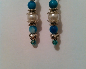 Pretty teal and pearl dangle earrings with silver hearts