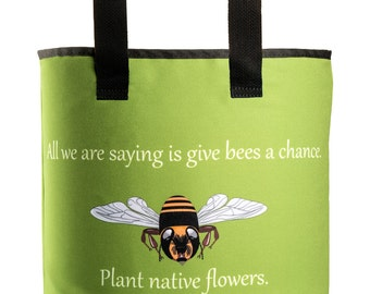 Reuseable Market Bag - Made from Recycled Materials - Eco-Friendly - Washable - Grocery Bag - Honey Bees - Green - Dye Sublimation