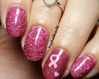 Heart Ribbon Nail Decal