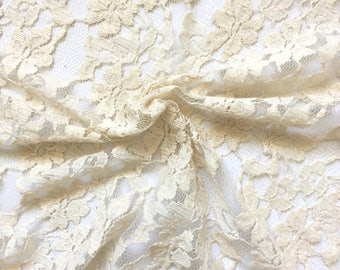 Lace Fabric, Fabric by the Yard - Cream Lace